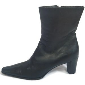 Aquatalia Black Leather Boots With Stacked Heel